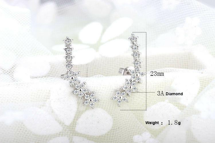 Women Elegant Crystal Rhinestone Ear Stud Hoop Earrings Fashion Charms Jewellery