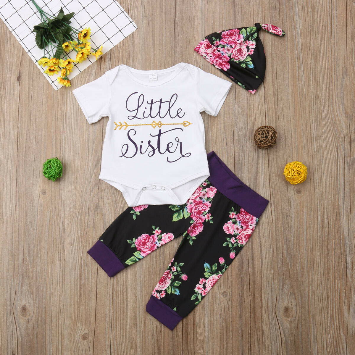 Big/Little Sister Matching Set Baby Girl Tops Romper Floral Pants Outfit Clothes