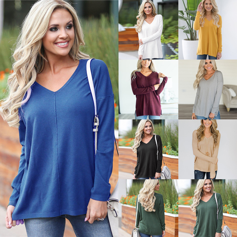83db88106 New Womens Long Sleeve V Neck Loose Knitted Sweater Ladies Casual ...