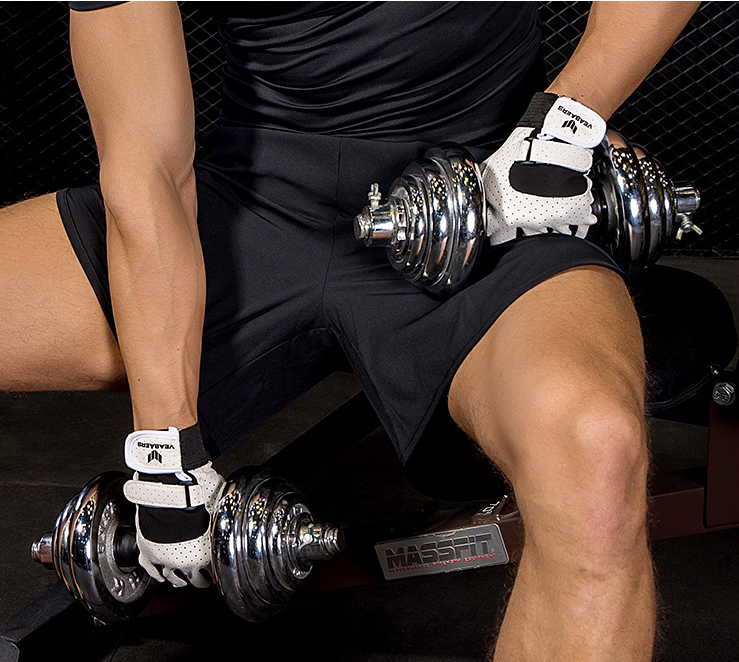 New Gym Muscle Bodybuilding Black Leather Fitness Lifting: Half Finger Gym Gloves Weight Lifting Fitness Strength