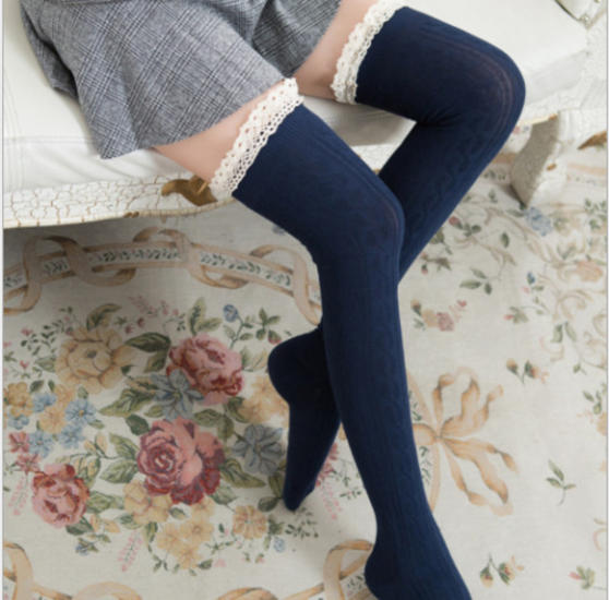 UK-Women-Lace-Trim-Thigh-High-OVER-the-KNEE-Socks-Long-Cotton-Warm-Stockings